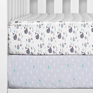 """TILLYOU Printed Whale Crib Sheets Set, 100% Egyptian Cotton Toddler Sheets for Baby Boys Girls, Soft Breathable, 28""""x52"""", ..."""