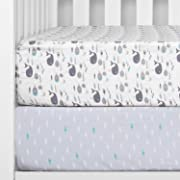 TILLYOU Printed Whale Crib Sheets Set, 100% Egyptian Cotton Toddler Sheets for Baby Boys Girls, Soft Breathable, 28 x52 , 2 Pack Sea World & Ocean Fish