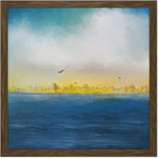 Leaving The City Lights Seascape Painting Square Wooden Framed Wall Art Print Picture 16X16 Inch シティ光シースケープペインティング木材壁画像