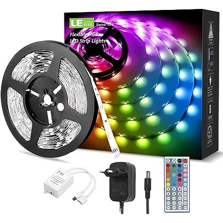 LE LED Strip 5M RGB Set, 5050 SMD 150 LEDs Streifen, 12V, Selbstklebend LED Strips, Flexibel LED Band, LED Leiste, LED Lichtband IP20, Netzteil und Controller enthalten