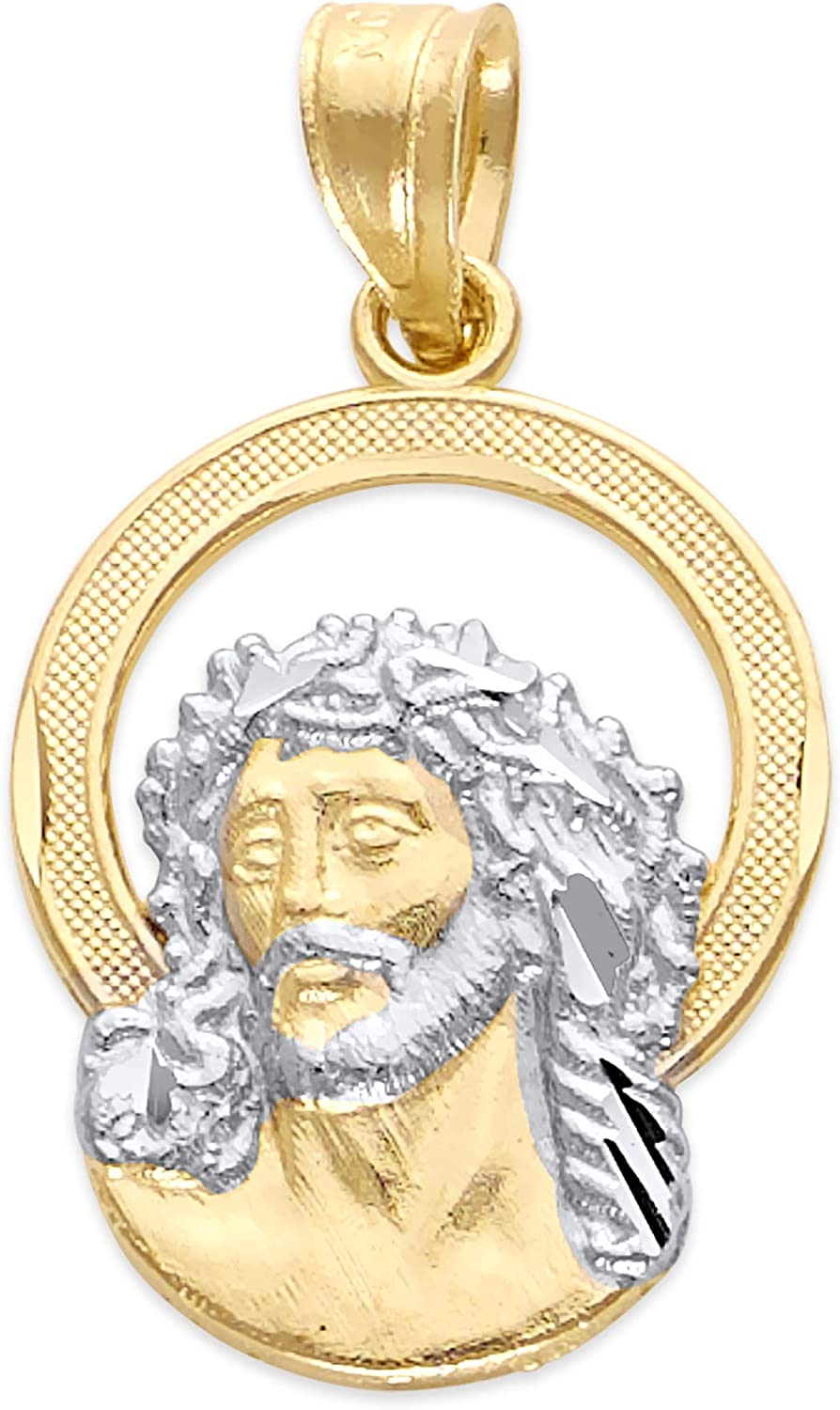 10k Real Solid Gold Jesus Piece Pendant, Two Tone Religious Charm Jewelry of Christ
