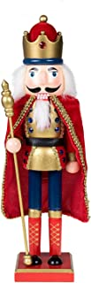 Clever Creations Traditional King Nutcracker Gold and Red Uniform | Jeweled Crown | Holding Gold Scepter | Collectible Wooden Christmas Nutcracker | Festive Holiday Decor | 100% Wood | 15