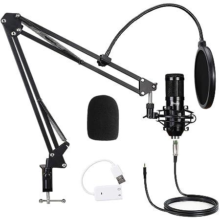 Tamkyo USB Streaming Podcast PC Professionelles Studio Kondensator Mikrofon mit Nierencharakteristik und Sound Karten Boom Arm Shock Mount Filter f/ür Skype Youtuber Karaoke Aufnahmen