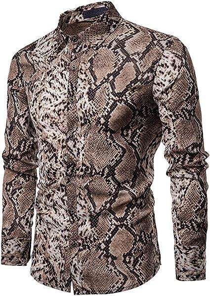 Camisa de vestir slim fit para hombre Camisa de piel de serpiente Slim Fit para hombre, camisa de manga larga con botones, camisa de caballero, para ...