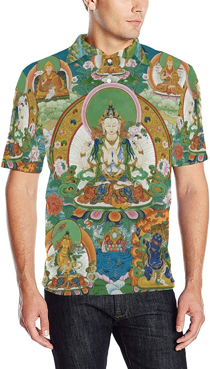 Vintage Distressed Tibetan Sale Long-awaited Special Price Buddhist Men's Shirt Thangka Polo