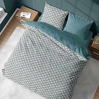 Parure de lit avec Housse de Couette 220x240 cm + 2 Taies d'oreiller 63x63cm pour lit pour 2 Personnes géométrique Or, Ble...