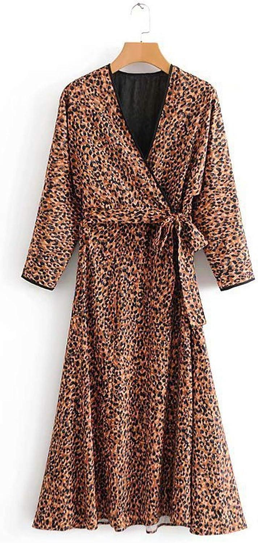 2018 Autumn Women Leopard Print Maxi Dress Female Long Sleeve VNeck Party Dress Sexy Club Lady Loose Long