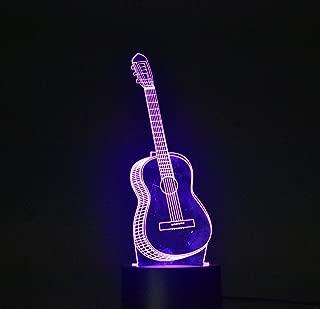 3D Night Lamp Optical Illusion Desk Light Table Lamp Smart Home Night Lights 7 Colors Change (Guitar)