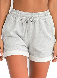 Nadition Trouser Shorts for Women, Summer Soft Outwear Loose Leisure Shorts Casual High Waist Short Trousers White