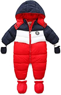 Newborn Baby Snowsuit Infant Winter Coat Hooded Zipper Jumpsuit Outwear Footed Romper