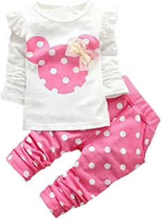 Baby Girls` Toddler Outfits Kids Clothes Spring Long Sleeve Shirt Top Pants Set