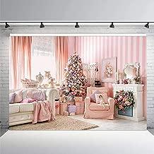Merry Christmas Background 10x7ft Pink Princess House Holly Xmas Gifts Photography Backdrop Vinyl Studio YouTube Booth Backdrop Props TVV099 LELEZ