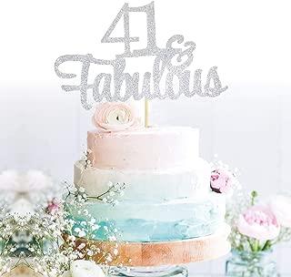 GrantParty Glitter Silver 41&Fabulous Anniversary Cake Topper We Still Do 41st Vow Renewal Wedding Anniversary Cake Topper(41 Silver)