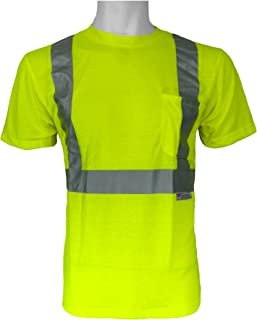 Global Glove GLO-008 FrogWear Class 2 Safety T-Shirt with 3M Scotchlite Reflective Tape, Medium, Lime (Case of 100)