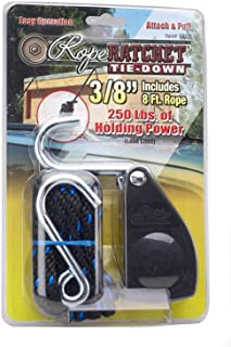 """Rope Ratchet C1020 3/8"""" Rachet Straps Rachet Tie Down, with 8' Solid Braided Polypropylene Rope, 250 lbs Weight Capacity, ..."""