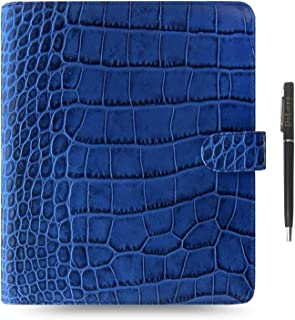 $249 » Filofax Classic Croc Print Leather Organizer Agenda Diary Calendar Bundle with DiLoro Ballpoint Pen (Indigo 2020-2021 with...