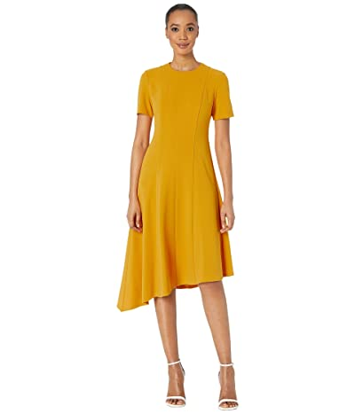 Donna Morgan Short Sleeve Asymmetric Hem Fit and Flare Crepe Dress (Butternut) Women