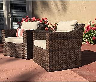 SUNSITT Patio Outdoor Furniture 2-Piece Brown Wicker Single Club Chairs w/Beige Olefin Cushions & Striped Throw Pillow
