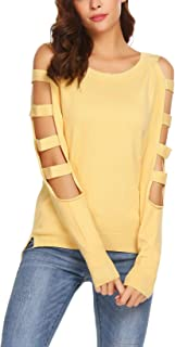 Elover Women's Hollow Out Sleeve Cold Shoulder Winter Warm Pullover Cashmere Sweater Shirt