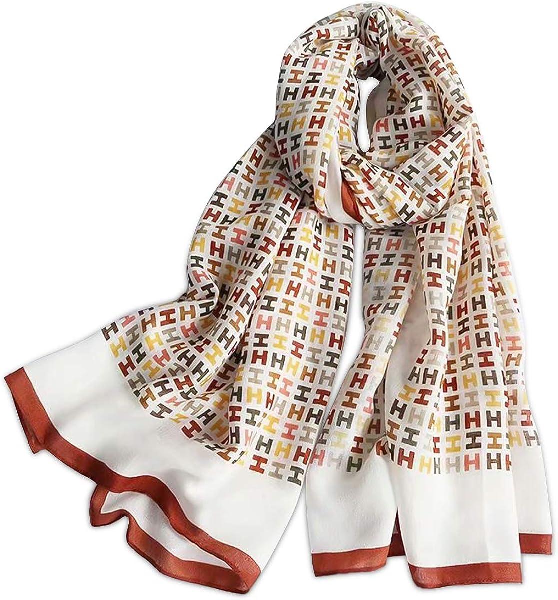 LumiSyne Spring Women Girl Scarf Soft Thin Cotton Scarf Mixed Colors Geometric Letter Pattern Fashion Warm Shawl Wrap