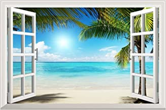 wall26 White Sand Beach with Palm Tree Open Window Wall Mural, Removable Sticker, Home Decor - 24x32 inches