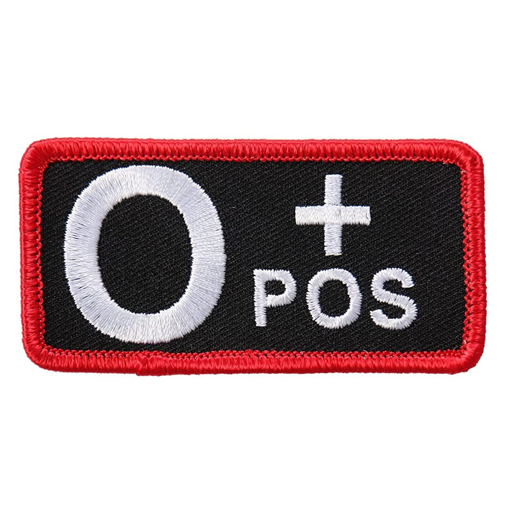 Hot Leathers, BLOOD TYPE O POS, High Thread EMBROIDERED Iron-On / Saw-On O+ Positive Rayon PATCH - 3