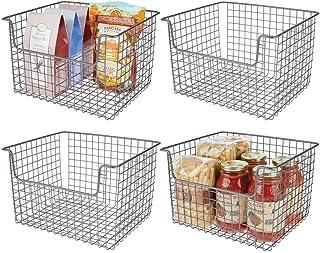 mDesign Panier de Rangement en Fil de Fer (Lot de 4) – boîte en métal Flexible pour la Cuisine, Le Garde-Manger, etc. – Pa...