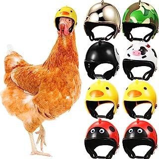 8 Pieces Chicken Helmet Pet Safety Helmet Funny Parrot Helmet Chicken Bird Hat Headwear Small Pet Hard Hat Pet Helmet Cost...