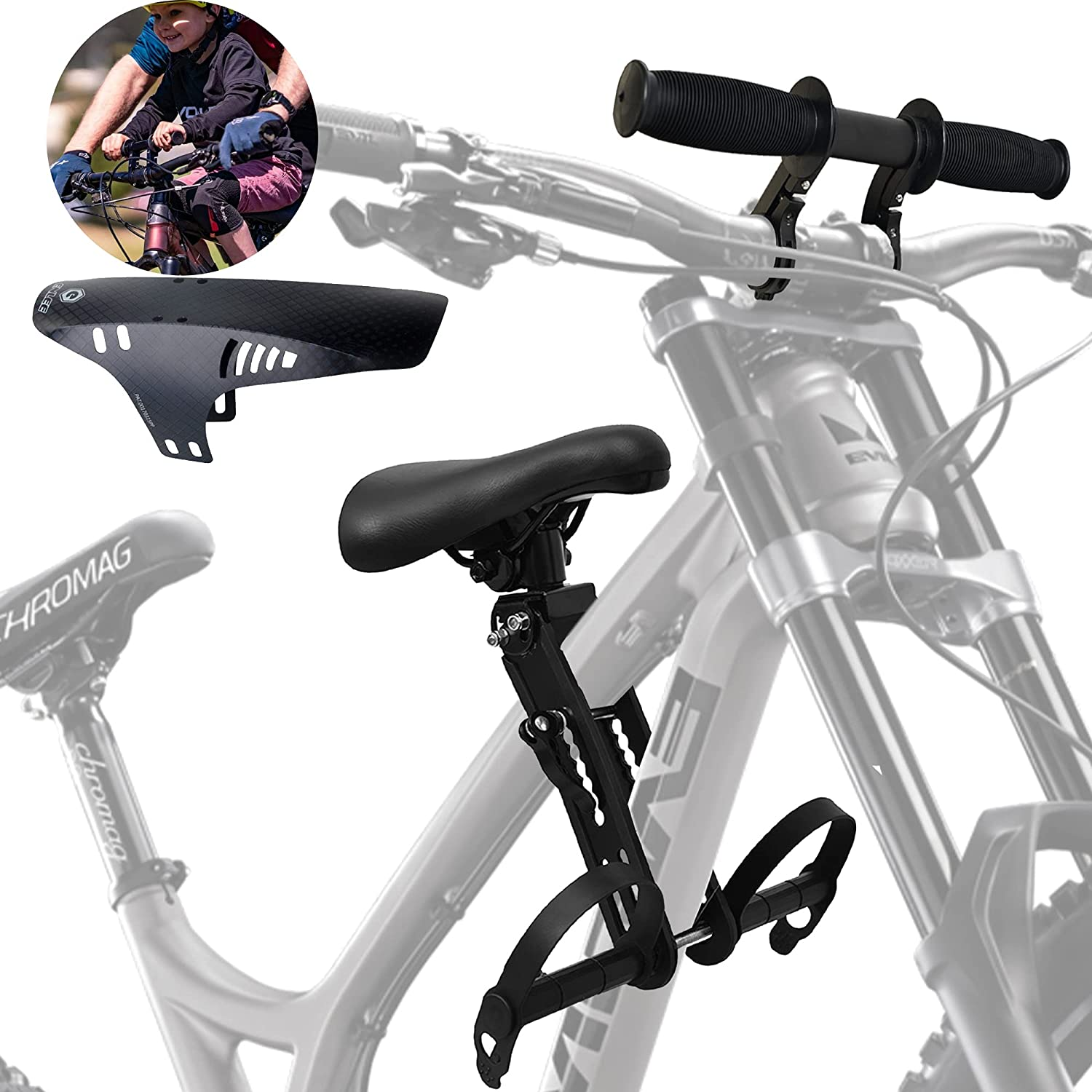 PROLEE Kids Bike Seat for Mountain Bikes with Handlebar Attachment and Mudguard, Detachable Front Mounted Child Bicycle Seats Suitable for All Bicycles, 1 Year Warranty