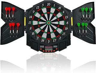 GOPLUS Professional Electronic Dart Board Cabinet Set Dartboard Game Room LED Display w/ 12 Darts