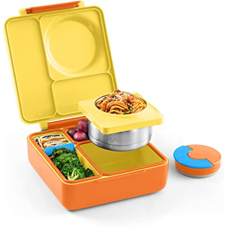 OmieBox Bento Box for Kids - Insulated Bento Lunch Box with Leak Proof Thermos Food Jar - 3 Compartments, Two Temperature Zones - (Sunshine) (Single) (Packaging May Vary)