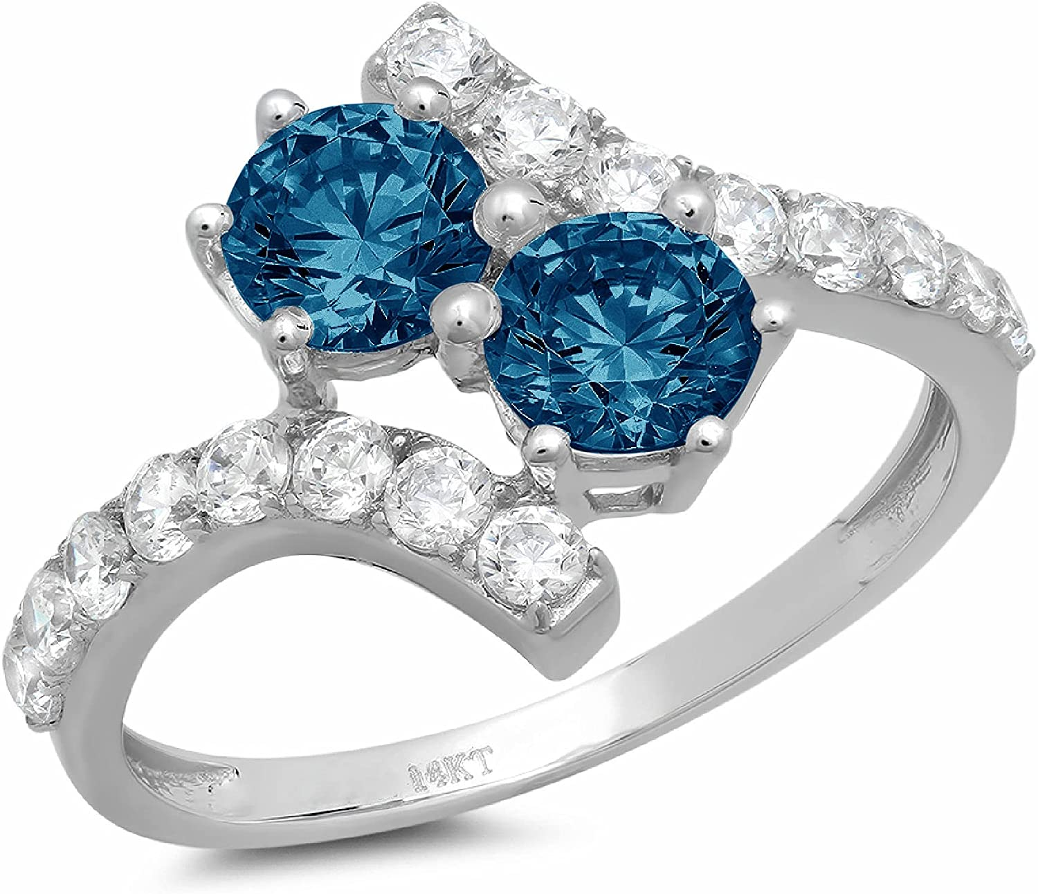 1.98 ct Round Cut 2 stone love Solitaire Genuine Flawless Natural London Blue Topaz Gemstone Engagement Promise Statement Anniversary Bridal Wedding Accent Ring Solid 18K White Gold