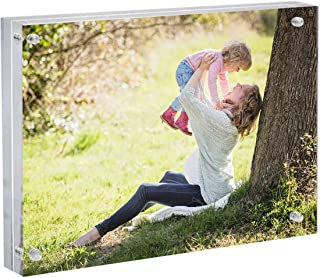 Momentous Frames Premium Clear Acrylic Magnetic Display Photo Frame 8x10 Inches | 24mm Thickness Block Double Sided Frameless Picture View Free Standing