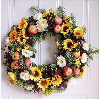 Adicionar Adicionado Artificial Flower Wreath/Artificial Sunflower Wreath Front Door 19 Inch Wreathe Flower False Garland ...