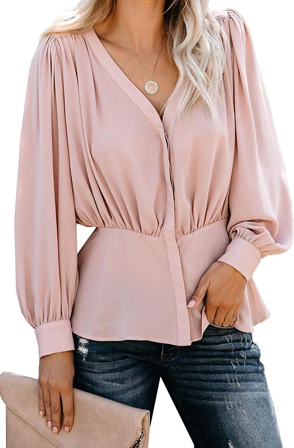 Ms. Acuna Women's Pink Button Down Pleated Blouse Peplum Waist Long Sleeve Casual Top Blouse V Neck Button Down Front