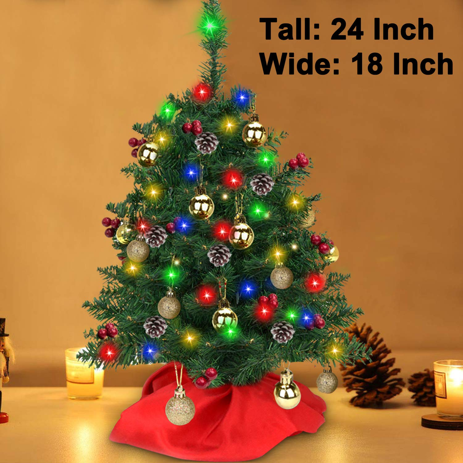 Tabletop Christmas Tree Decoration 24 Inch Artificial Mini Xmas Pine Tree with 50 LED String Lights 5 Pine Cones 30 Red Berries Small Prelit Fir