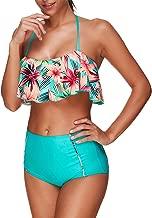 Tankini Swimsuits for Women Teen Girls Bikini Bathing Suits Ruffled Flounce Top with Tummy Control Bottom Swimwear