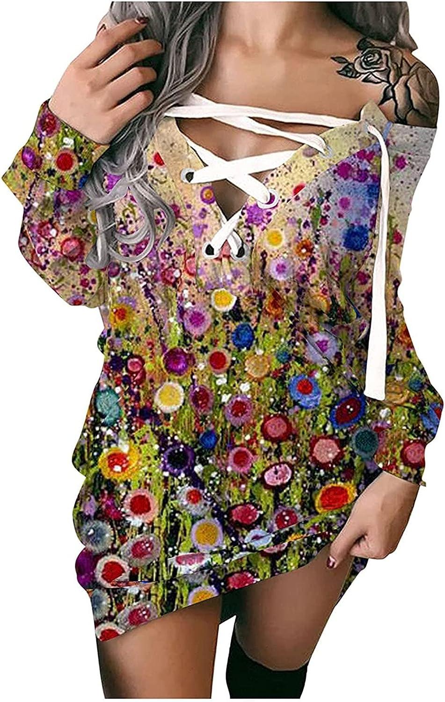Women Off Shoulder Lace Up Tshirt Dresses, Long Sleeve Loose Fit Floral Boho Crisscross Goth Vintage Casual Mini Dress