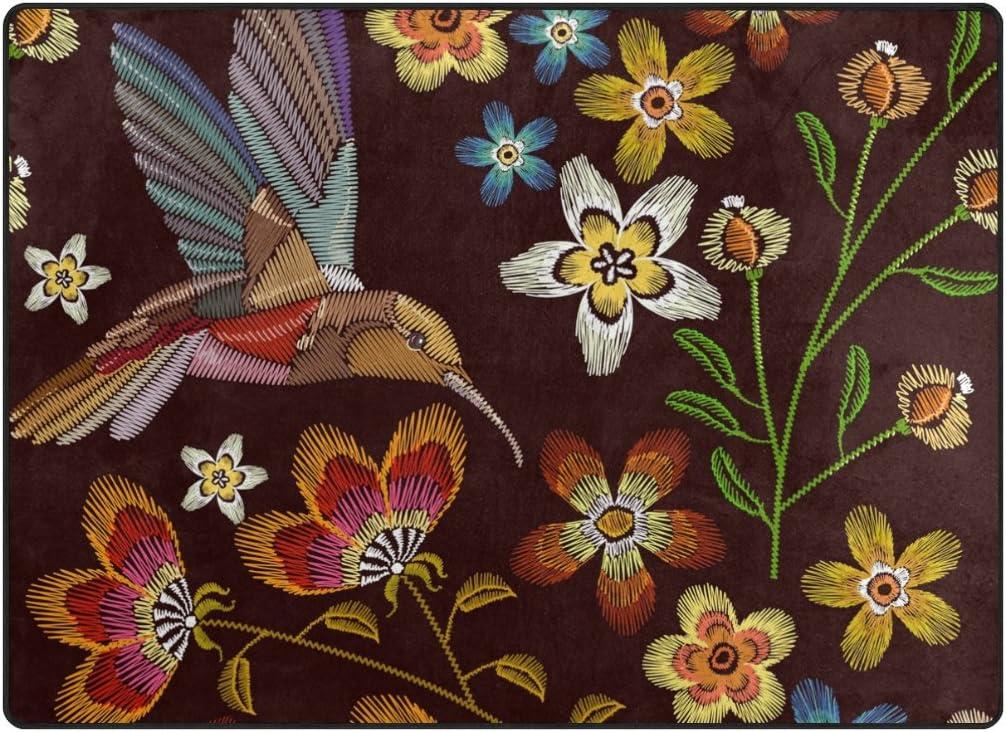 ALAZA My Daily 新発売 2020A/W新作送料無料 Hummingbird and Flower Chocolate 4' Area Rug x 5'