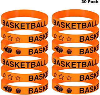 Finduat 30 Pieces Basketball Silicone Wristbands Bracelets for Party Favors School Gifts Supplies