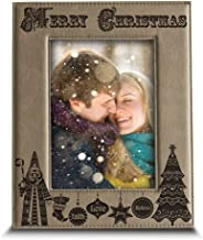 BELLA BUSTA - Merry Christmas - Joy-Peace-Love-Faith-Believe- Engraved Leather Picture Frame for Family, Friend (4 x 6 Vertical)