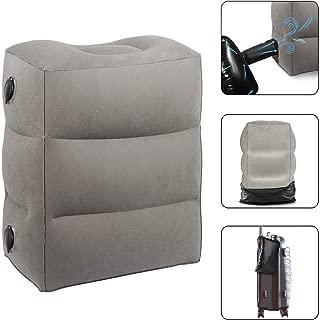 新しい 飛行機 フットレスト 足置き 足枕 携帯枕 旅行枕 エアーポンプとして使用できる収納バッグが付き 高さ調整可能 子供連れて遠距離旅行に最適(第二世代)