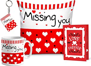 TIED RIBBONS Missing You Combo Pack(Throw Pillow with Insert, Coffee Mug, Greeting Card and Keyring) Birthday Anniversary Romantic Gifts for Girlfriend Wife Her Women Girls