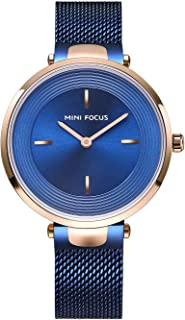 MINI FOCUS Women's Stainless Steel Mesh Strap Quartz Watches Simple Waterproof Wristwatch Lady Woman