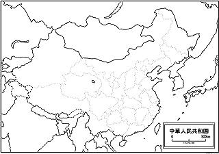 中国(中華人民共和国)の白地図 A1サイズ 2枚セット