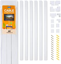 Simple Cord Cable Concealer On-Wall Cord Cover Raceway Kit - Cable Management System to Hide Cables, Cords, or Wires - Cord Organizer for Wall Mounted TVs Computers in the Home or  Office (Renewed)