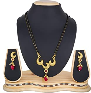 c69f770a1 The Luxor Traditional Gold Plated Jewellery American Diamond Earrings with  Mangalsutra for Women