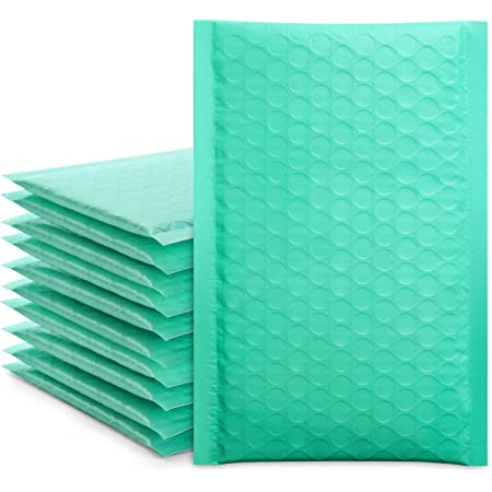 """Fuxury/ Fu Global 4x8"""" 50Pcs Poly Bubble Mailers #000, Self Seal Padded Envelopes Bulk with Bubble Lined Wrap- Teal"""