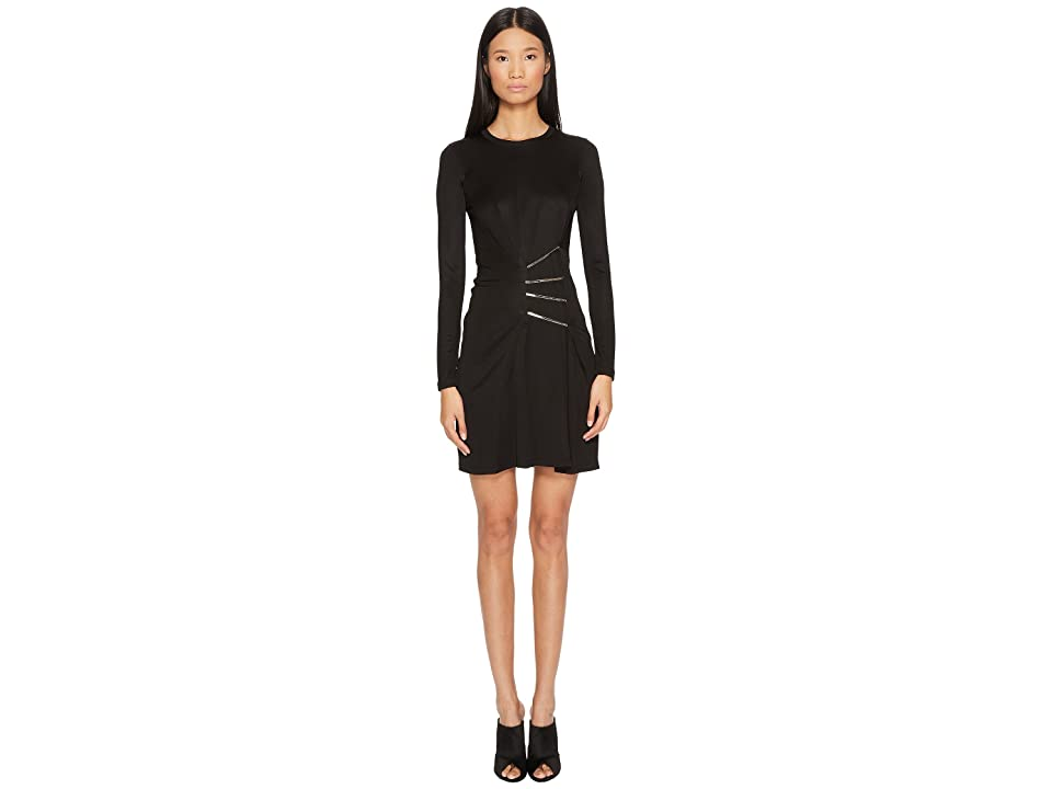 Versace Jeans Couture Side Cinched Long Sleeve Dress (Nero) Women