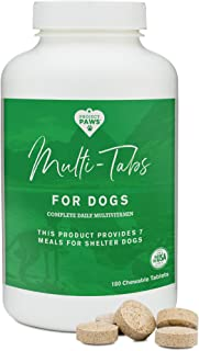 Project Paws Multi Tabs Plus Dog Vitamins - Chewable Multivitamin Pet Tablets for Dogs - 180 Count